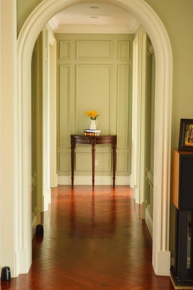 清新文艺美式田园家居室内过道拱形垭口设计图片