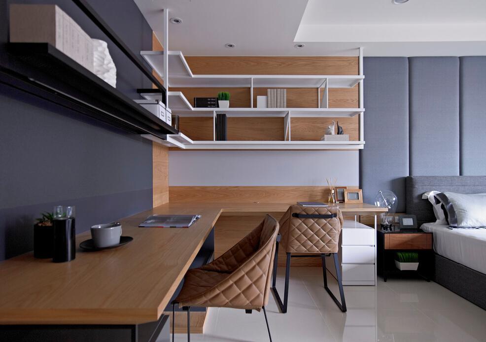 简约时尚现代设计卧室书桌书架装饰图_装修百科