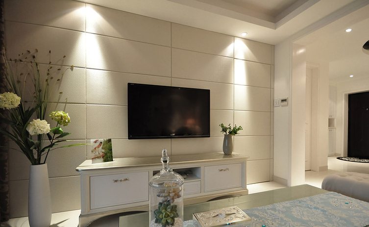 清新北欧风格三居室内瓷砖电视背景装饰图_装修百科