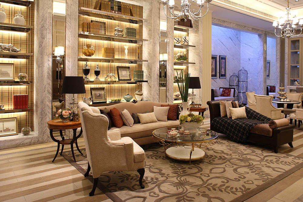 法式新古典别墅客厅嵌入式收纳背景墙设计_装修百科