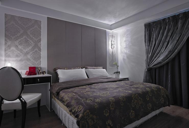 装修效果图 装修美图 后现代风格灰色系卧室案例图