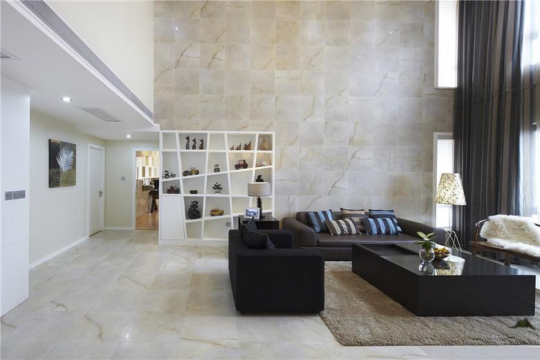 时尚现代风 挑高客厅背景墙设计
