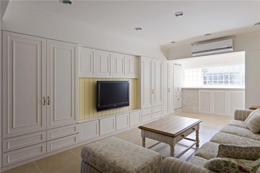 纯净简约二居客厅电视收纳柜背景墙设计_装修百科