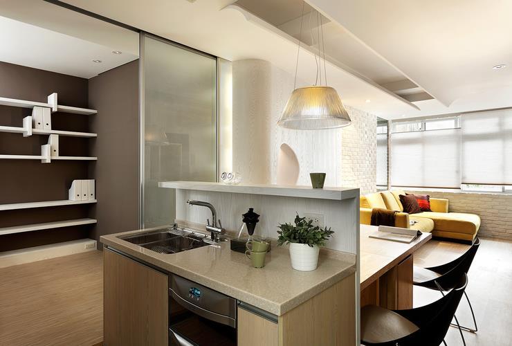 現代極簡廚房隔斷效果圖