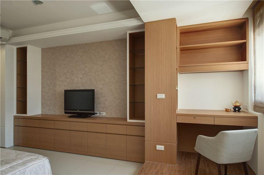 新中式家居室内实木电视柜书柜组合设计装修图_装修百科