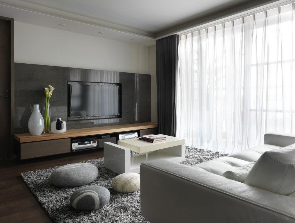 時尚簡約黑白灰 客廳電視背景墻設計