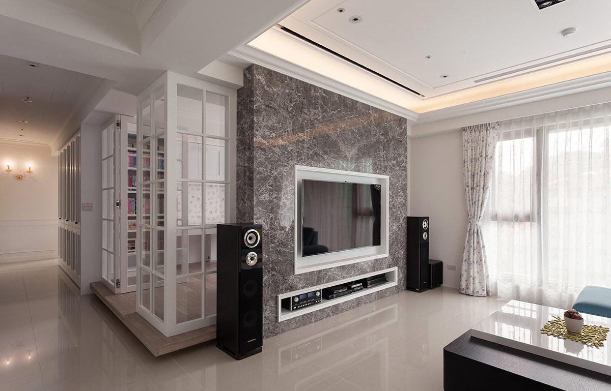 家装客厅北欧大理石电视背景墙设计装饰图_装修百科