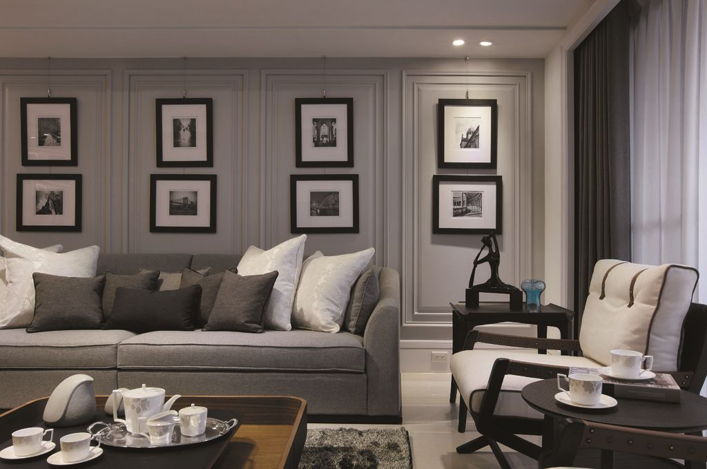 后现代风格客厅相片墙设计_装修百科