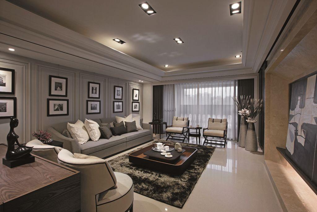現代時尚裝修復式客廳設計效果圖_裝修百科