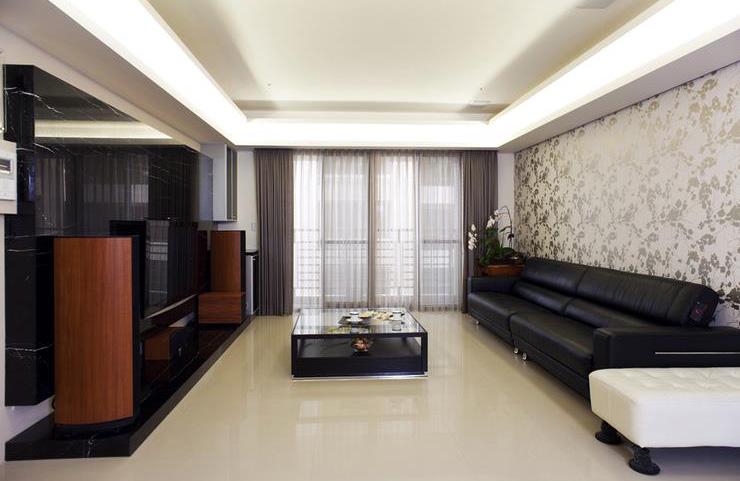 110平米現代時尚客廳簡易裝修樣板欣賞圖