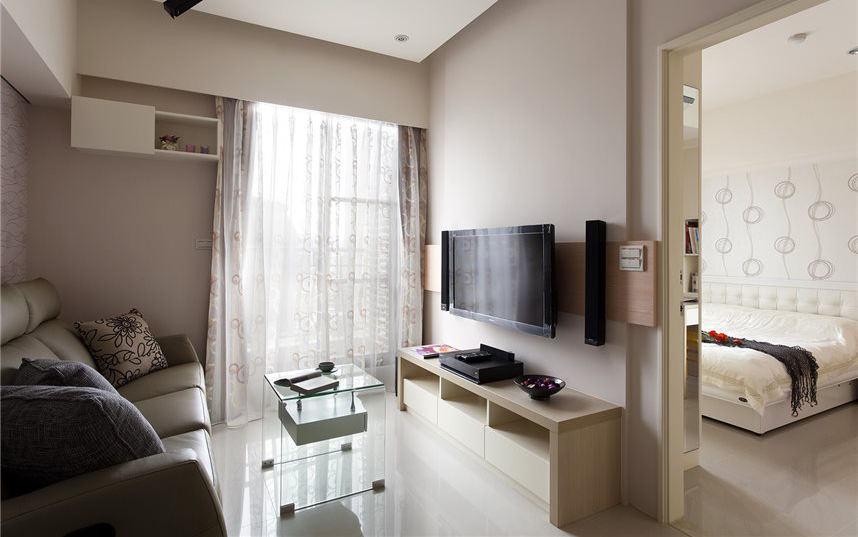 裸色宜家客廳 電視背景墻隔斷設計