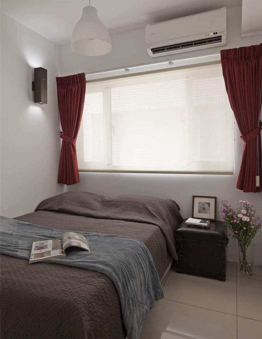 現代復古風臥室紅色窗簾搭配效果圖