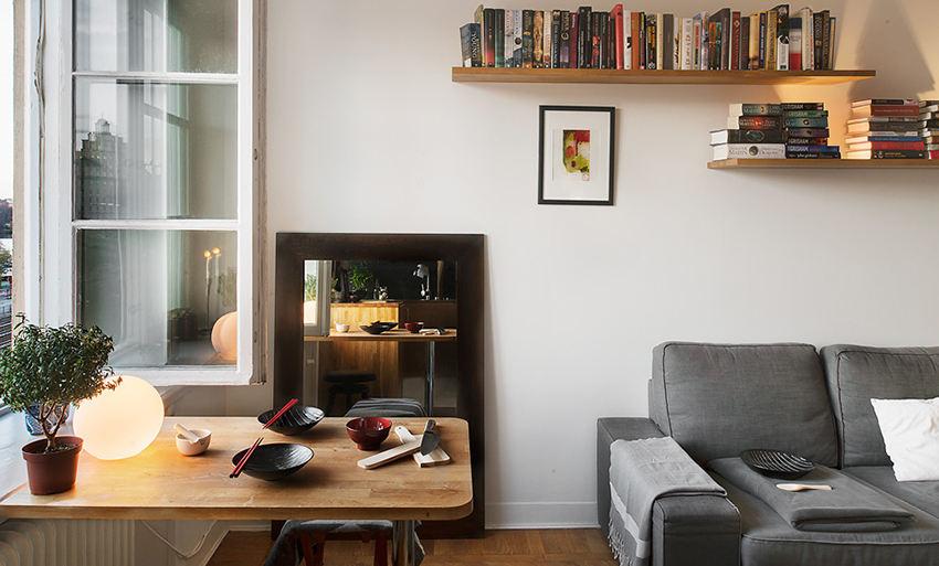 装修百科 装修效果图 装修美图 创意巧妙设计北欧客餐厅简易书架装饰