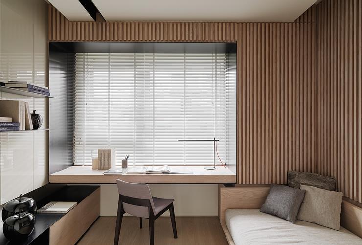 宜家設計裝修書房原木書桌設計