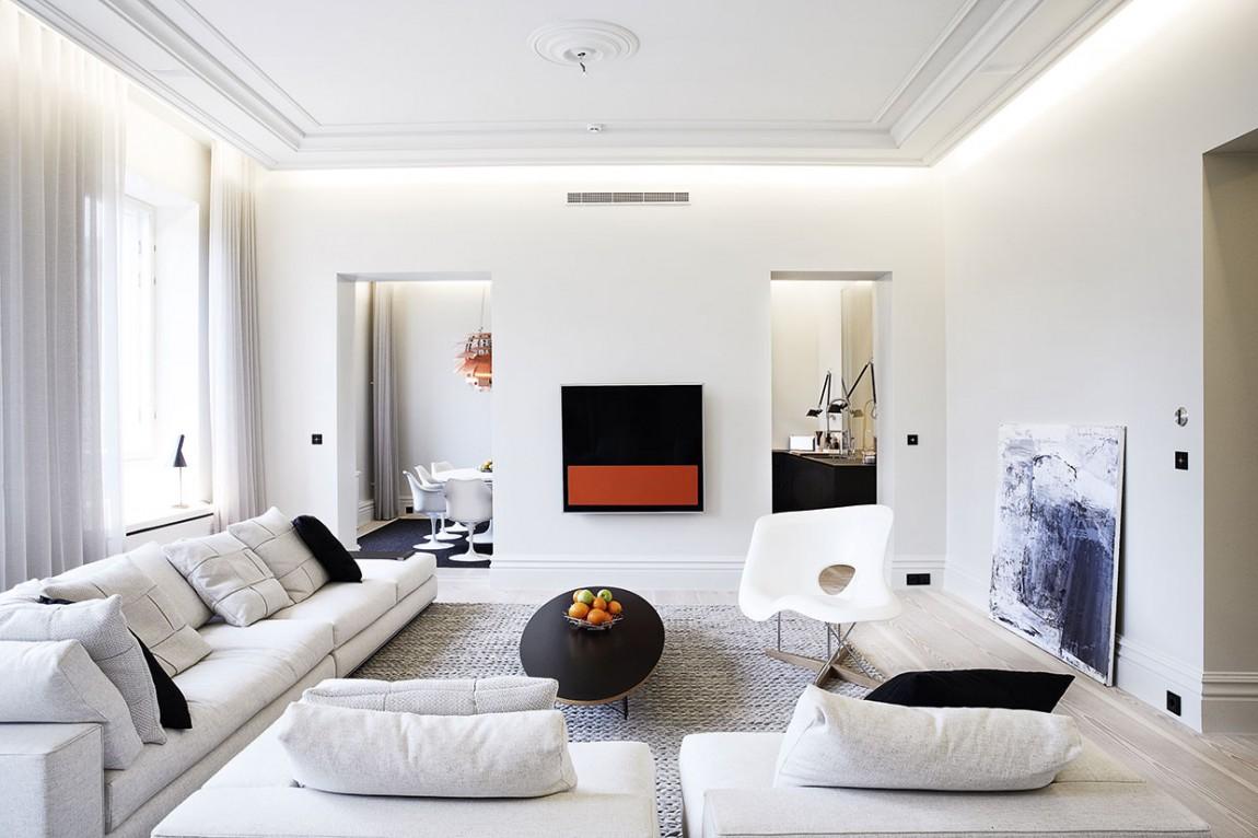 138平时尚黑白简欧风三居装潢设计