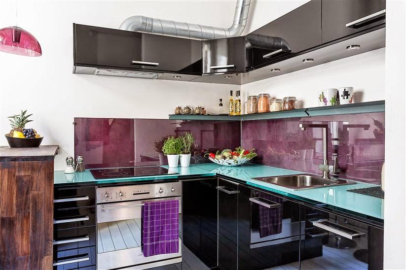 时尚紫色北欧风厨房效果图
