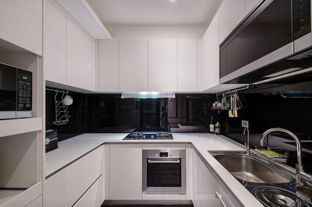 黑白时尚简约现代厨房装修图