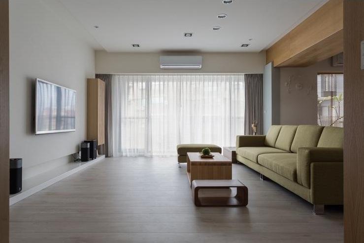 原木日式設計客廳精裝樣板間欣賞圖片