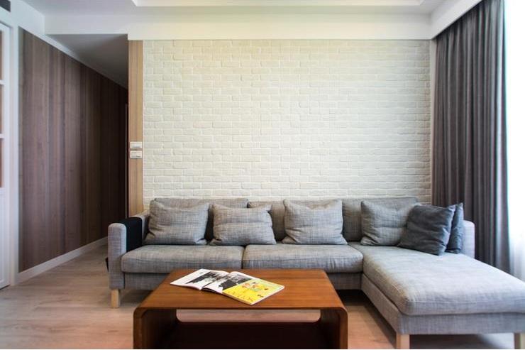 清新简约风客厅 文化砖背景墙设计