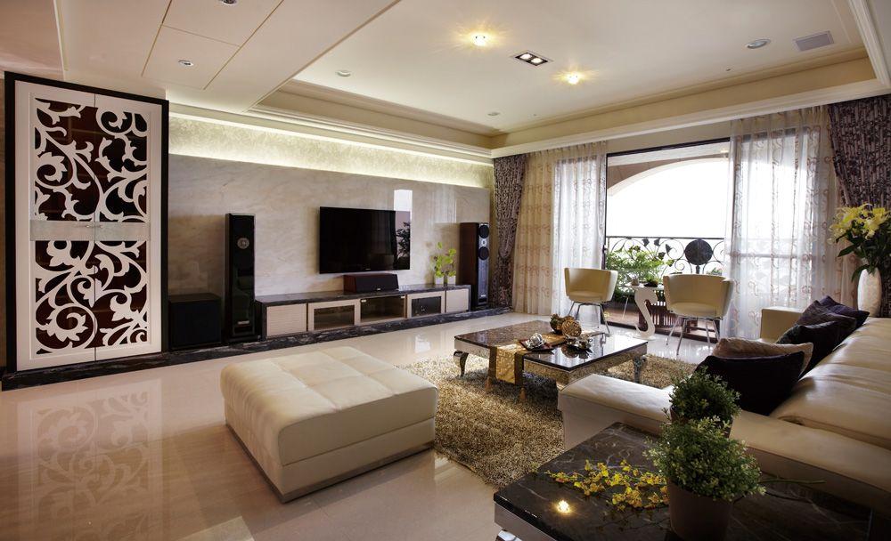 浪漫雅致現代風格帶陽臺客廳設計裝修欣賞圖