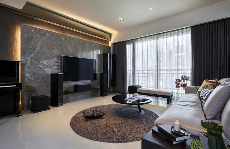 时尚后现代风格客厅大理石电视背景墙装饰图片