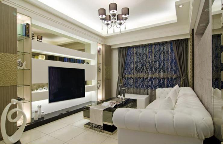 时尚简欧设计客厅电视背景墙装修效果图