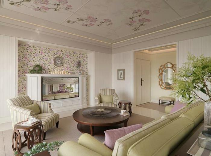 法式田园风格三居客厅电视背景墙装饰效果图_装修百科