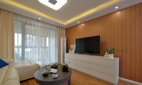 现代设计客厅实木电视背景墙装潢图片_装修百科