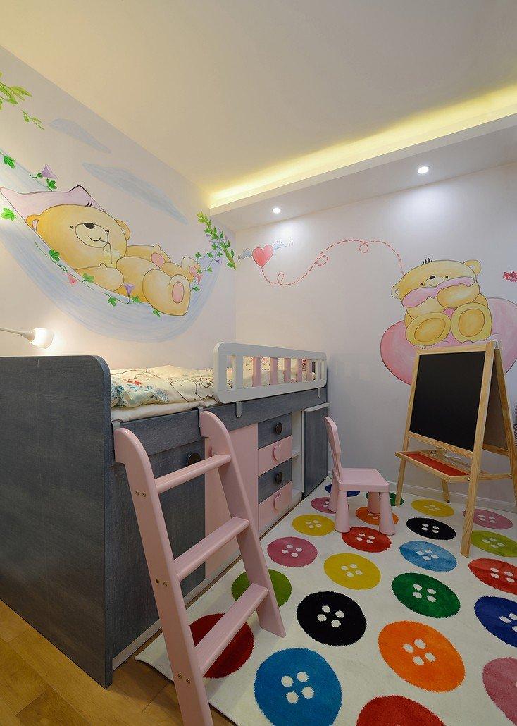 现代时尚可爱缤纷儿童房手绘墙装饰效果图_装修百科
