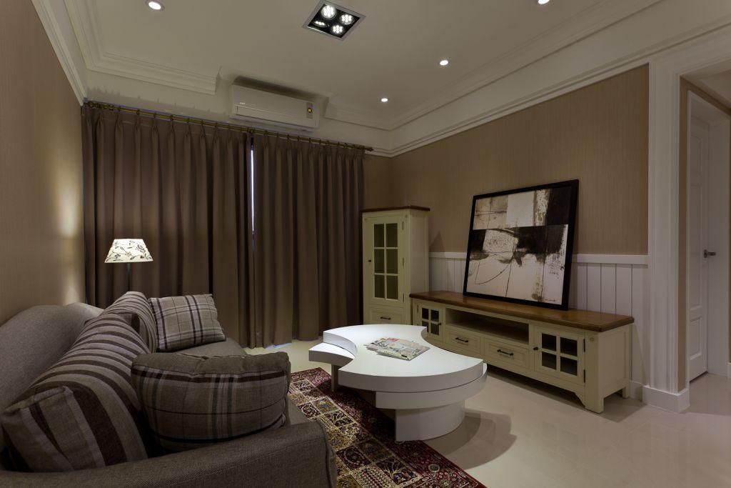 简约时尚小户型客厅窗帘装饰效果图_装修百科