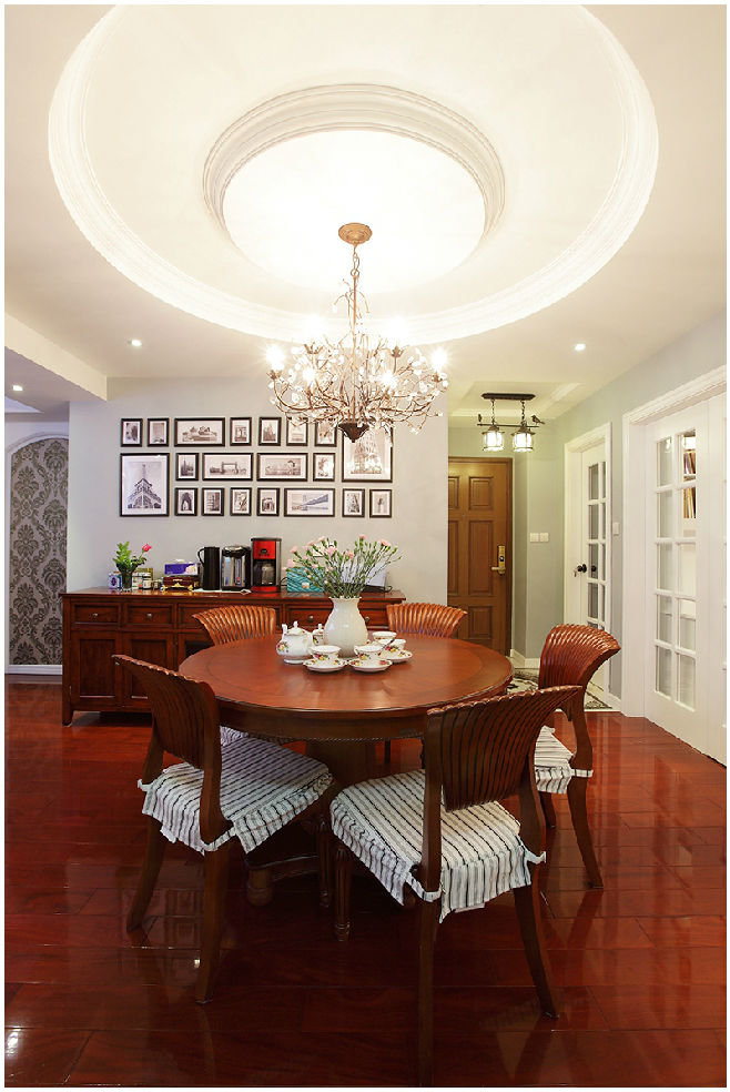 红木大气古典美式风格餐厅圆形吊顶设计效果图_装修百科