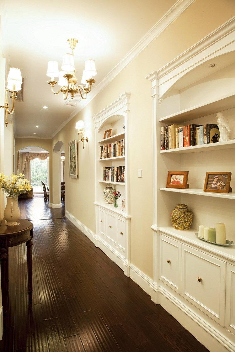 美式风格过道墙面收纳柜设计_装修百科