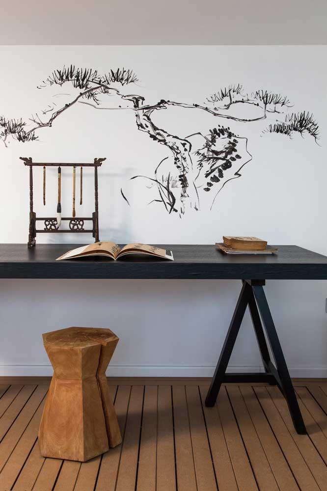 现代中式风书房手绘墙欣赏_装修百科