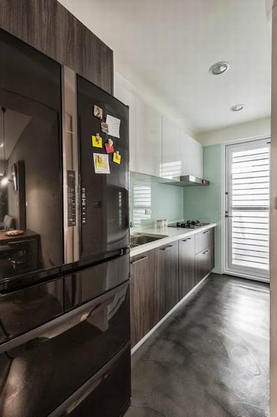 现代简约设计风格厨房水泥地板装饰效果图_装修百科