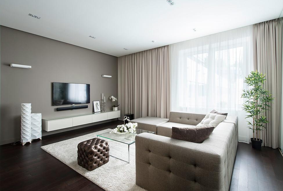 现代装修风格客厅咖啡色电视背景墙设计_装修百科