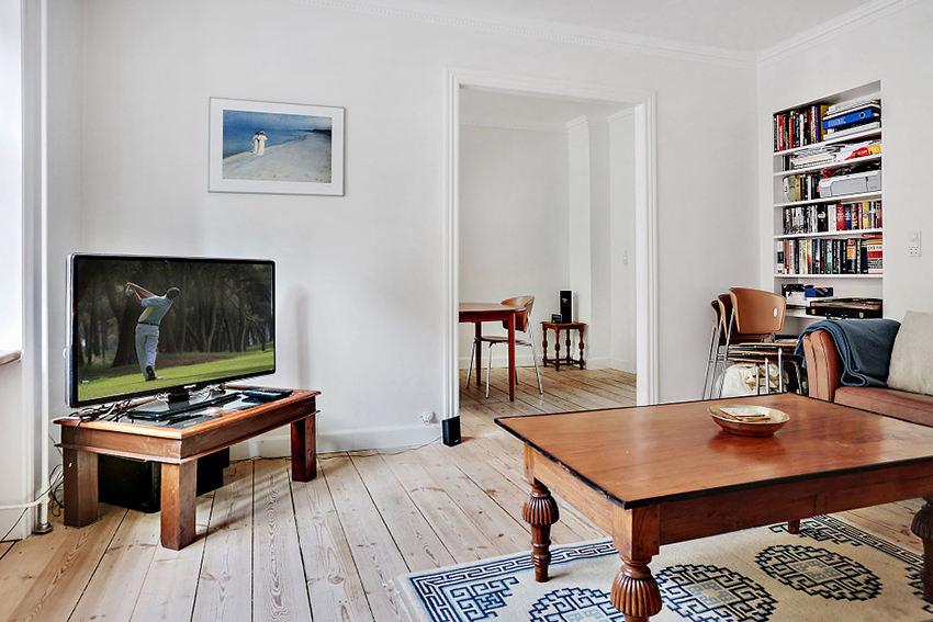 自然简约北欧风格小户型客厅简易电视桌装饰图_装修