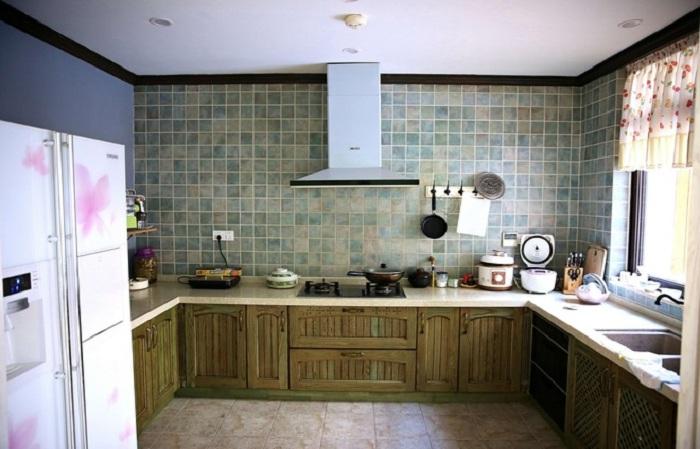 复古美式风格厨房装饰效果图_装修百科