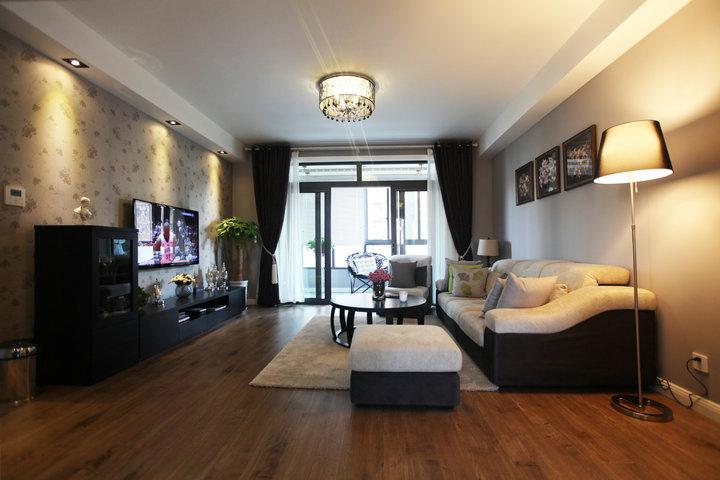 黑色浪漫艺术现代风格复式客厅装饰效果图