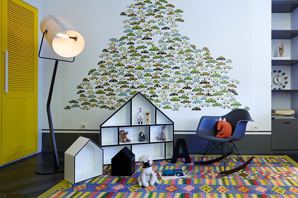 個性創意現代兒童房墻紙裝飾圖