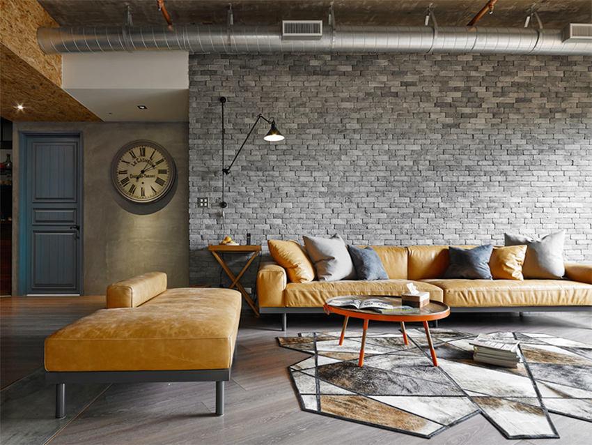 装修百科 装修效果图 装修美图 现代创意工业风 客厅石砖背景墙装饰