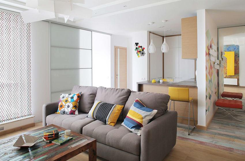 黄色优雅创意现代小户型室内隔断装潢效果图_装修百科