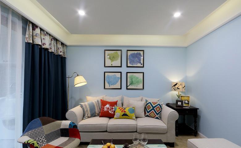 简约田园风家居室内蓝色背景墙装饰效果图_装修百科