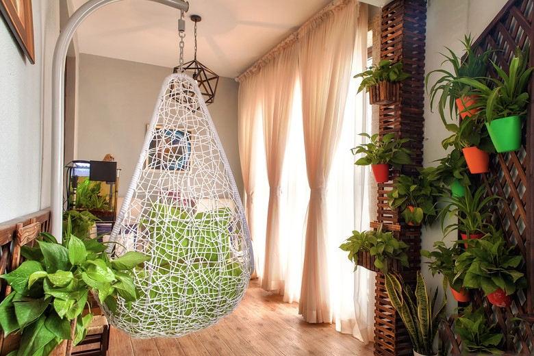 现代混搭家居阳台窗帘装饰