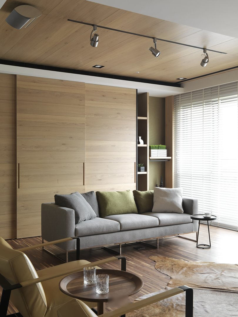简洁时尚北欧风格客厅原木背景墙装饰效果图_装修百科