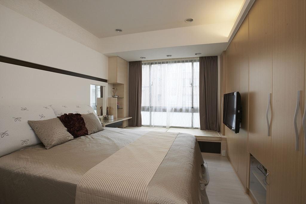 樸素清新時尚現代小戶型臥室設計裝潢圖