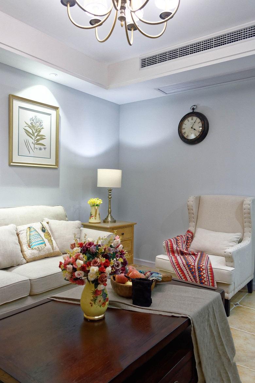 美式乡村风格客厅清新蓝色背景墙装饰效果图_装修百科图片