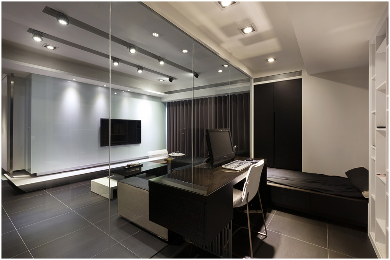 黑色时尚现代卧室书房一体装饰效果图_装修百科
