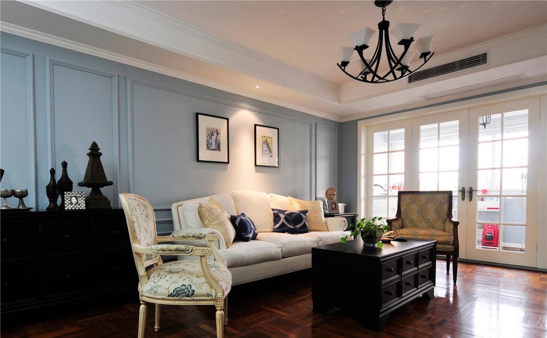 美式客廳藍色背景墻裝飾