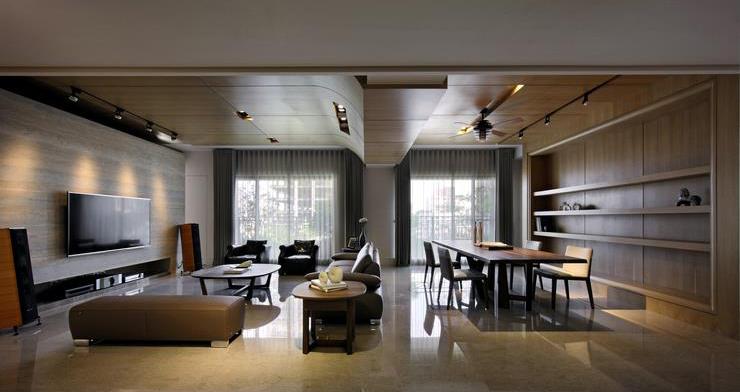 时尚现代设计公寓原木装饰图