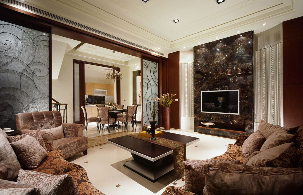 装修效果图 装修美图 美式风格 客厅大理石电视背景墙